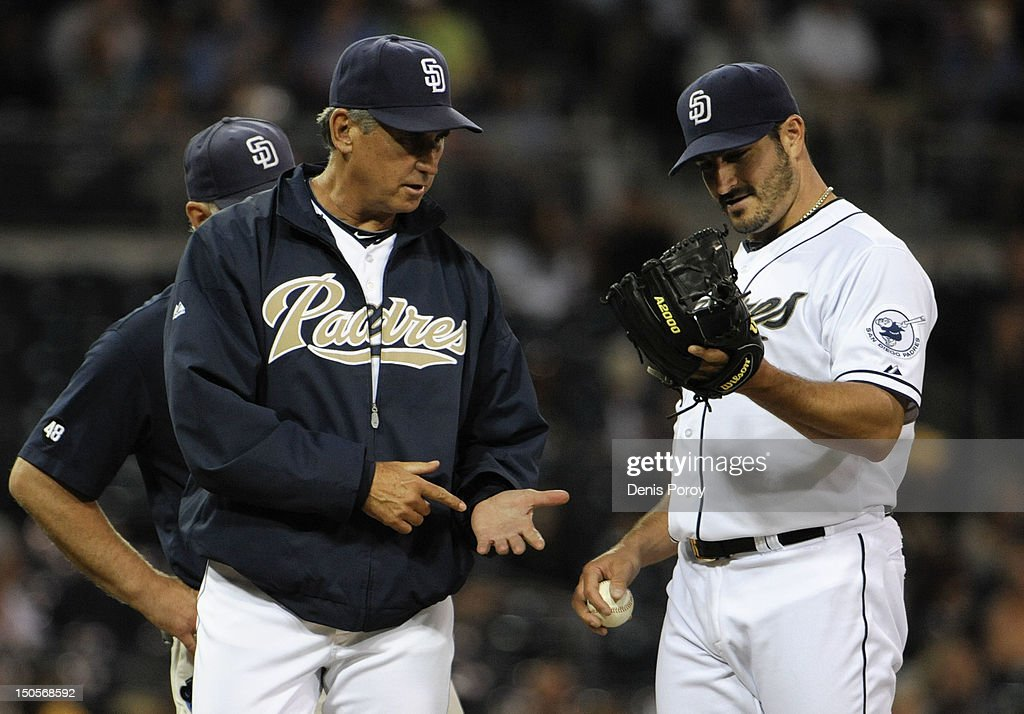 <a gi-track='captionPersonalityLinkClicked' href=/galleries/search?phrase=Bud+Black&family=editorial&specificpeople=167104 ng-click='$event.stopPropagation()'>Bud Black</a> #20 manager of the San Diego Padres, left, looks at the hand of <a gi-track='captionPersonalityLinkClicked' href=/galleries/search?phrase=Jason+Marquis&family=editorial&specificpeople=210770 ng-click='$event.stopPropagation()'>Jason Marquis</a> #38 after making a play during the second inning of a baseball game against the Pittsburgh Pirates at Petco Park on August 21, 2012 in San Diego, California.