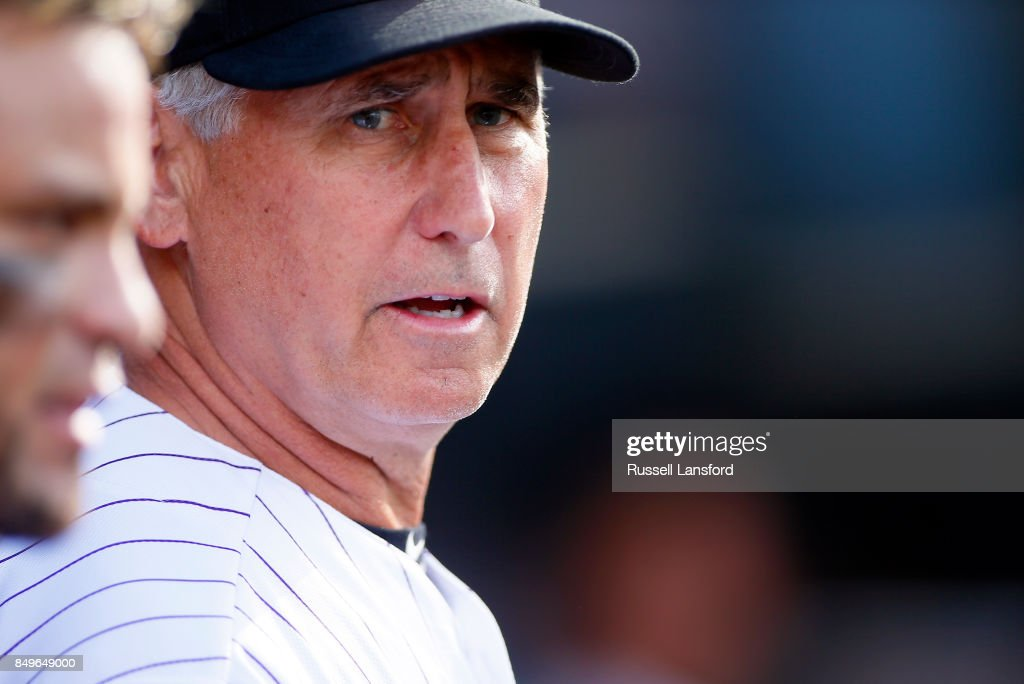 Bud Black #10 of the Colorado Rockies during a regular season MLB game between the Colorado Rockies and the visiting San Diego Padres at Coors Field on September 17, 2017 in Denver, Colorado.