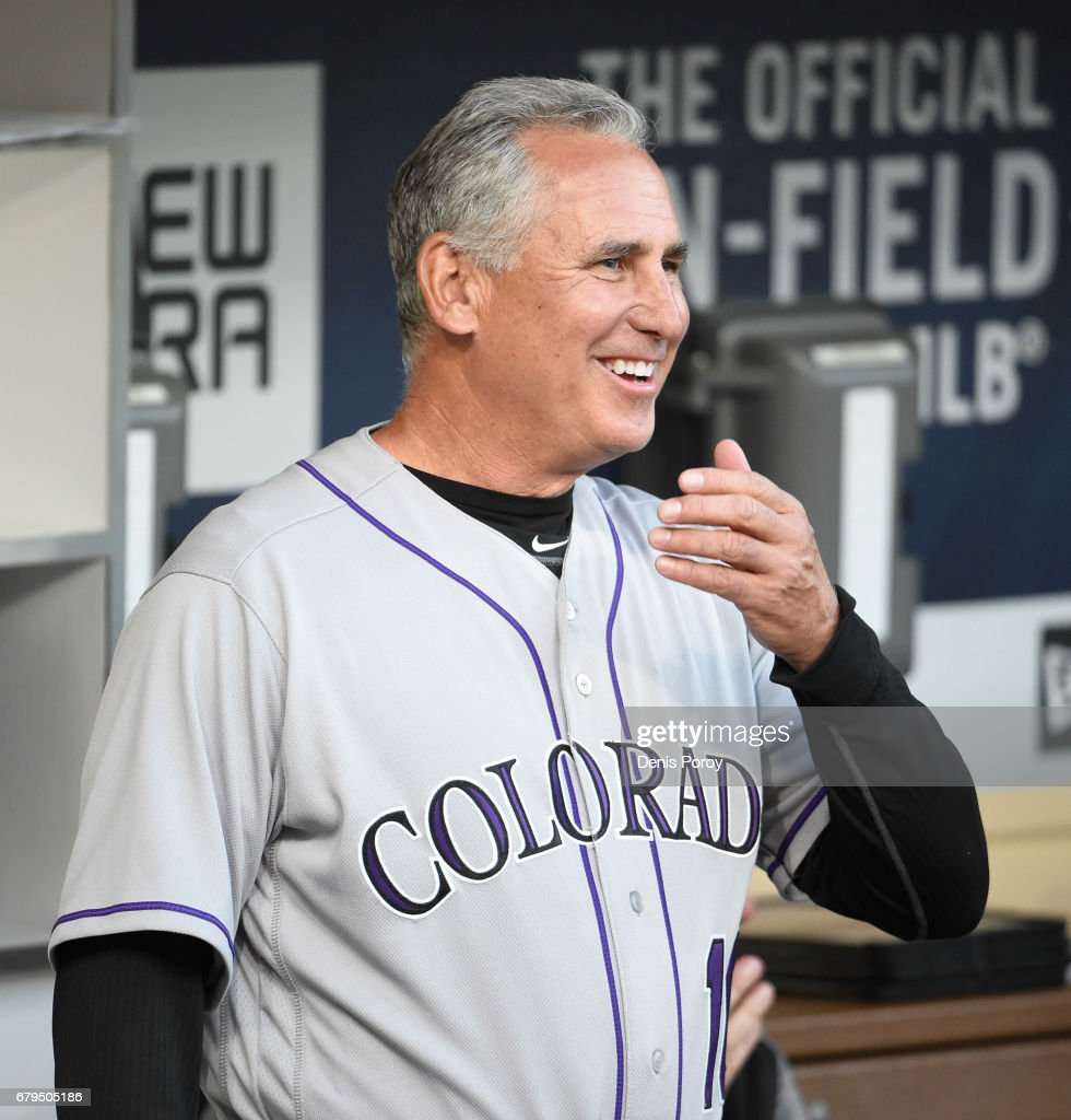 Bud Black #10 of the Colorado Rockies looks on before a baseball game against the San Diego Padres at PETCO Park on May 2, 2017 in San Diego, California.
