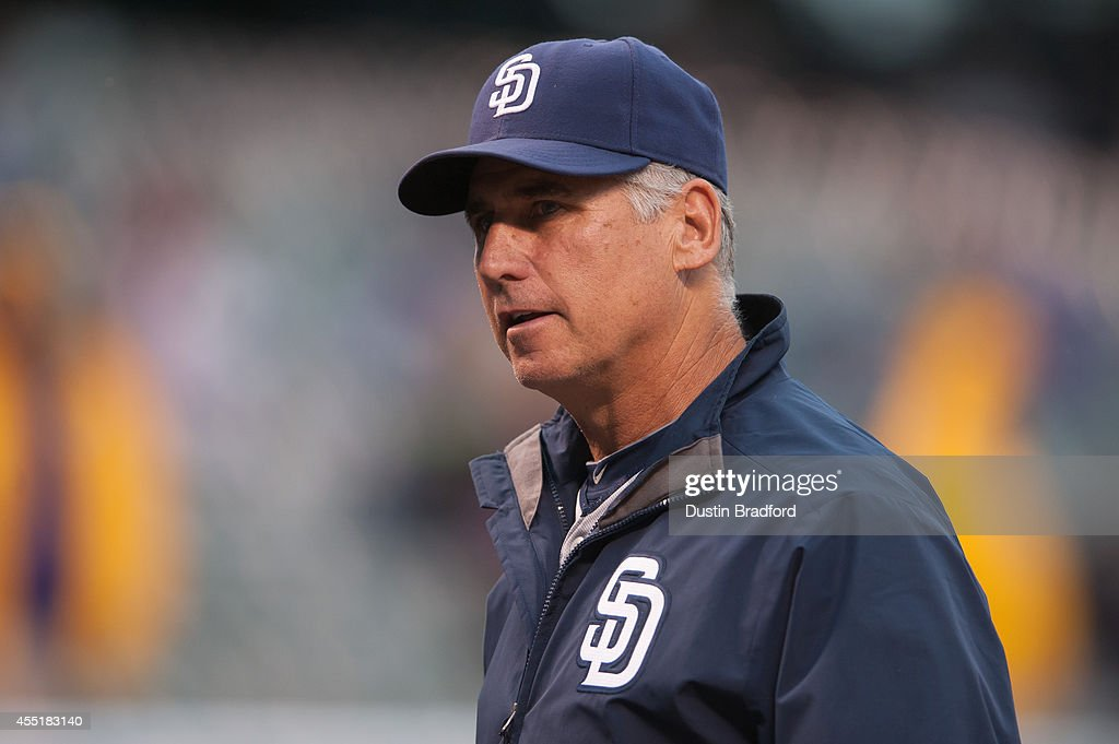 Bud Black of the San Diego Padres looks on before a game against the Colorado Rockies at Coors Field on September 5 2014 in Denver Colorado
