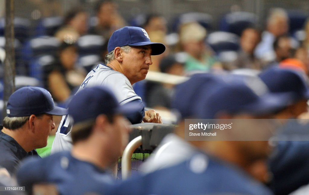 <a gi-track='captionPersonalityLinkClicked' href=/galleries/search?phrase=Bud+Black&family=editorial&specificpeople=167104 ng-click='$event.stopPropagation()'>Bud Black</a> #20 of the San Diego Padres looks on from the dugout during the ninth inning against the Miami Marlins at Marlins Park on July 1, 2013 in Miami, Florida.
