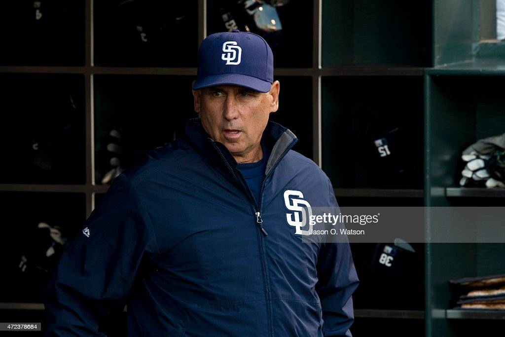 Bud Black of the San Diego Padres stands in the dugout before the game against the San Francisco Giants at ATT Park on May 4 2015 in San Francisco...