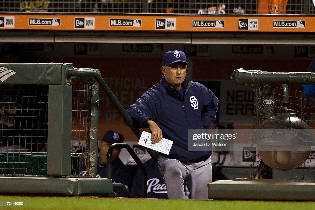 Bud Black of the San Diego Padres stands in the dugout during the seventh inning against the San Francisco Giants at ATT Park on May 5 2015 in San...