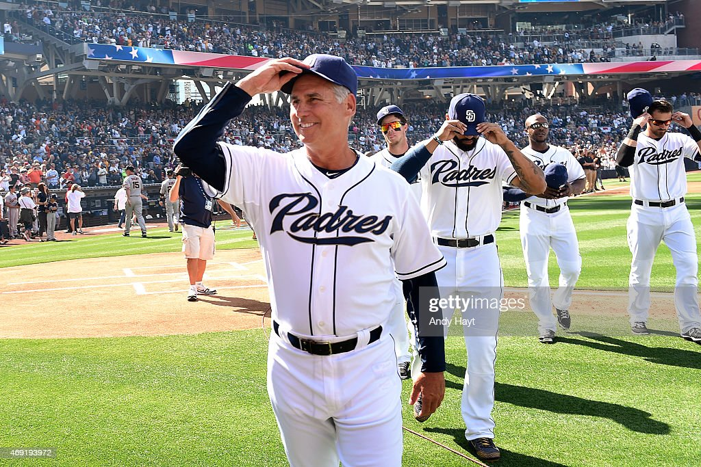 Bud Black of the San Diego Padres tips his cap to the crowd prior to the game against the San Francisco Giants at Petco Park on April 9 2015 in San...