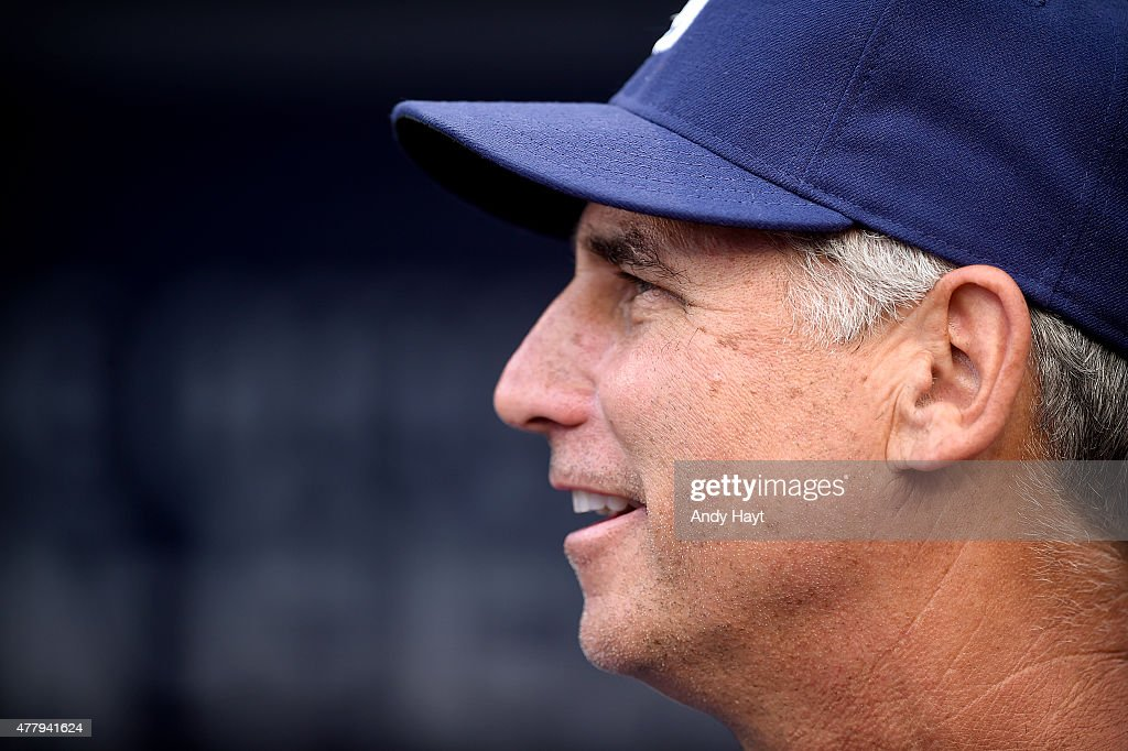 Bud Black of the San Diego Padres waits in the dugout for the start of the game against the Los Angeles Dodgers at Petco Park on June 13 2015 in San...