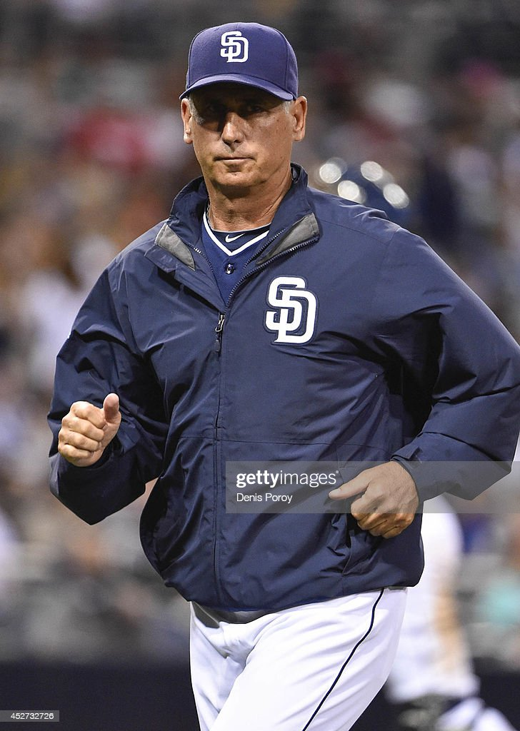 Bud Black of the San Diego Padres walks off the field during a baseball game against the New York Mets at Petco Park on July 19 2014 in San Diego...