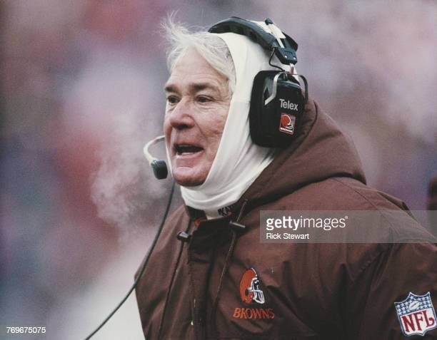 Bud Carson head coach for the Cleveland Browns during the American Football Conference Central game against the Minnesota Vikings on 17 December 1989...