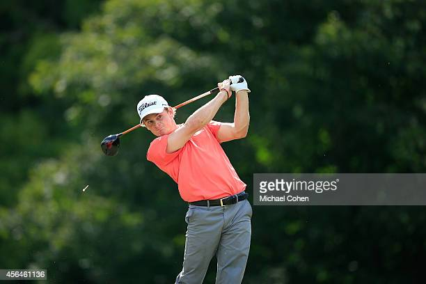 Bud Cauley hits his drive on the 12th hole during the second round of the Chiquita Classic held at River Run Country Club on September 5 2014 in...