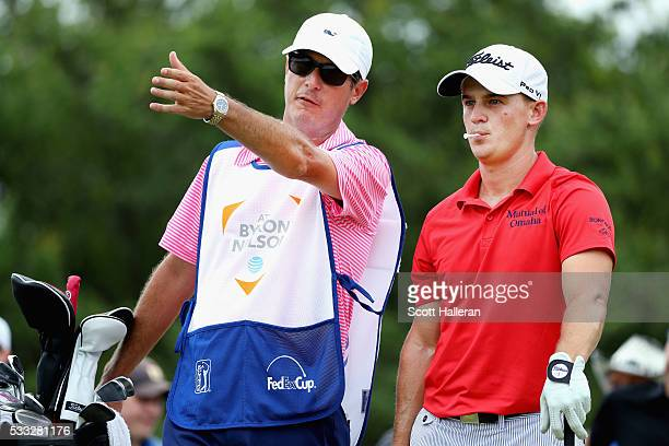Bud Cauley is seen with his caddie on the 13th tee during Round Three at the ATT Byron Nelson on May 21 2016 in Irving Texas