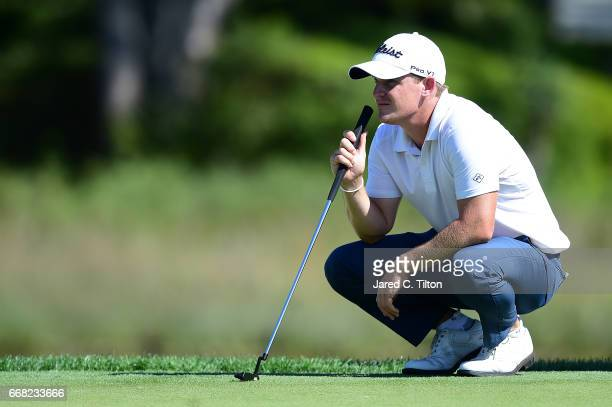 Bud Cauley looks over the 17th green during the first round of the 2017 RBC Heritage at Harbour Town Golf Links on April 13 2017 in Hilton Head...