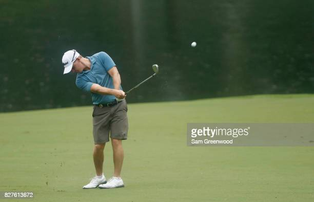 Bud Cauley of the United States plays his shot during a practice round prior to the 2017 PGA Championship at Quail Hollow Club on August 8 2017 in...