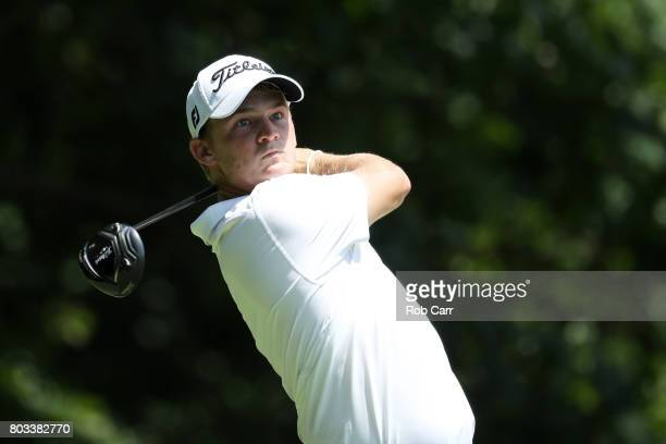 Bud Cauley of the United States plays his shot from the eighth tee during the first round of the Quicken Loans National on June 29 2017 TPC Potomac...