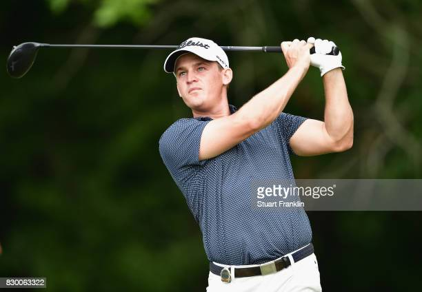 Bud Cauley of the United States plays his shot from the fifth tee during the second round of the 2017 PGA Championship at Quail Hollow Club on August...