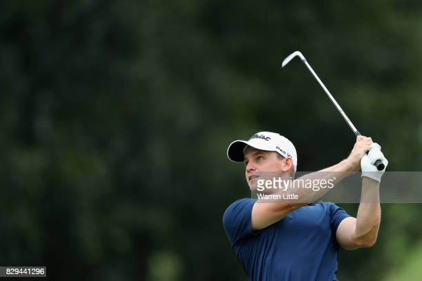 Bud Cauley of the United States plays his shot on the second hole during the first round of the 2017 PGA Championship at Quail Hollow Club on August...