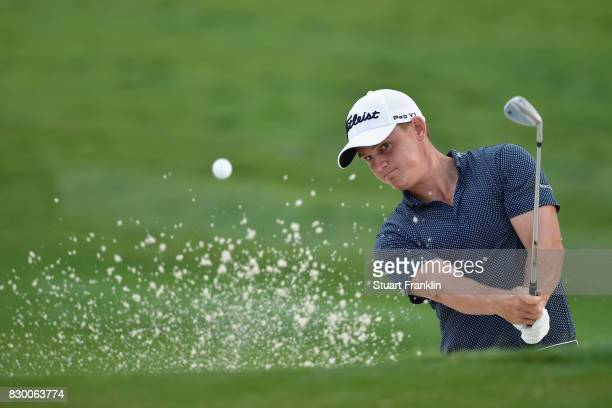 Bud Cauley of the United States plays his shot out of the bunker on the fourth hole during the second round of the 2017 PGA Championship at Quail...
