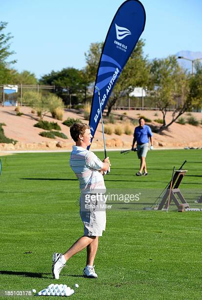 Bud Cauley of the USA on the range at the TPC Las Vegas prior to his golf clinic during the 2013 Els for Autism Grand Finale on October 14 2013 in...