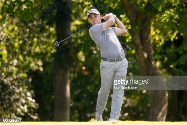 Bud Cauley plays his shot from the 12th tee during the first round of the Dean Deluca Invitational on May 25 2017 at Colonial Country Club in Fort...
