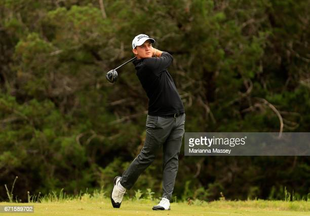 Bud Cauley plays his shot from the fourth tee during the third round of the Valero Texas Open at TPC San Antonio ATT Oaks Course on April 22 2017 in...