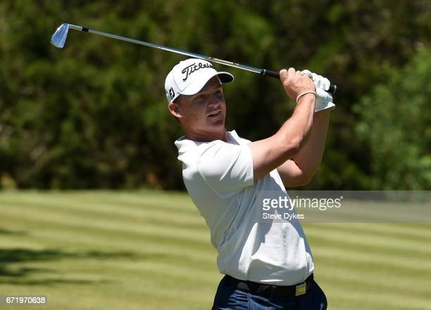 Bud Cauley plays his shot from the seventh tee during the final round of the Valero Texas Open at TPC San Antonio ATT Oaks Course on April 23 2017 in...