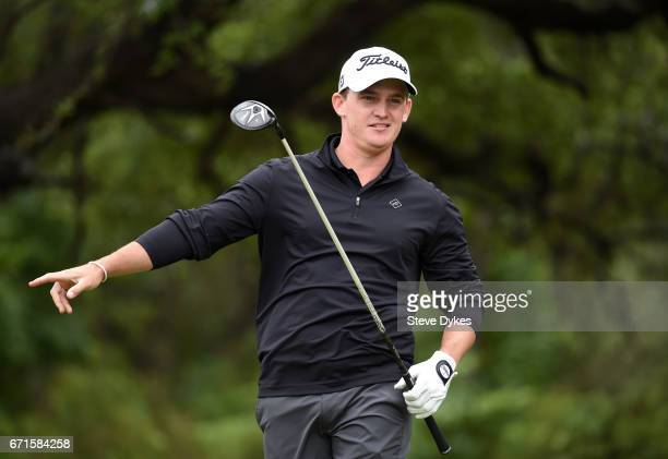 Bud Cauley plays his shot from the sixth tee during the third round of the Valero Texas Open at TPC San Antonio ATT Oaks Course on April 22 2017 in...