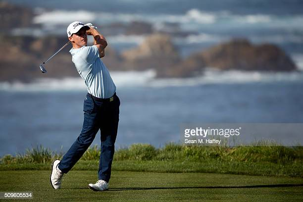 Bud Cauley plays his tee shot on the fourth hole during the first round of the ATT Pebble Beach National ProAm at the Spyglass Hill Golf Course on on...