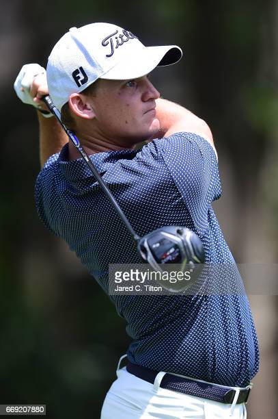Bud Cauley plays his tee shot on the second hole during the final round of the 2017 RBC Heritage at Harbour Town Golf Links on April 16 2017 in...