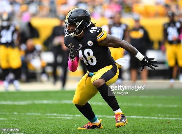 Bud Dupree of the Pittsburgh Steelers in action during the game against the Jacksonville Jaguars at Heinz Field on October 8 2017 in Pittsburgh...