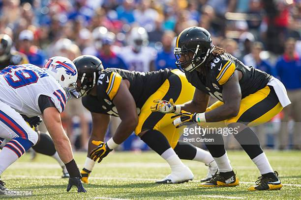 Bud Dupree of the Pittsburgh Steelers lines up for a play during a preseason game against the Buffalo Bills on August 29 2015 at Ralph Wilson Stadium...
