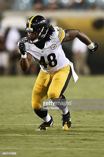 Bud Dupree of the Pittsburgh Steelers rushes the passer during a preseason game against the Jacksonville Jaguars at EverBank Field on August 14 2015...