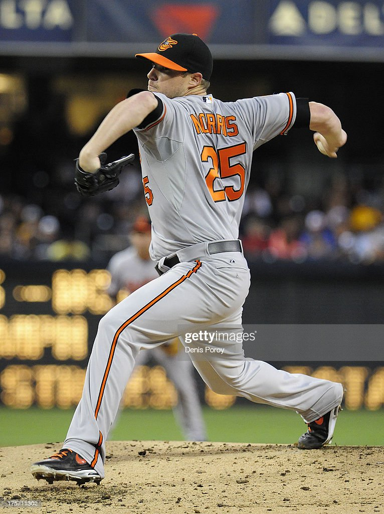 <a gi-track='captionPersonalityLinkClicked' href=/galleries/search?phrase=Bud+Norris&family=editorial&specificpeople=5746311 ng-click='$event.stopPropagation()'>Bud Norris</a> #25 of the Baltimore Orioles pitches during the second inning of a baseball game against the San Diego Padres at Petco Park on August 6, 2013 in San Diego, California.