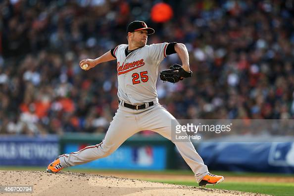Bud Norris of the Baltimore Orioles pitches in the fourth inning against the Detroit Tigers during Game Three of the American League Division Series...