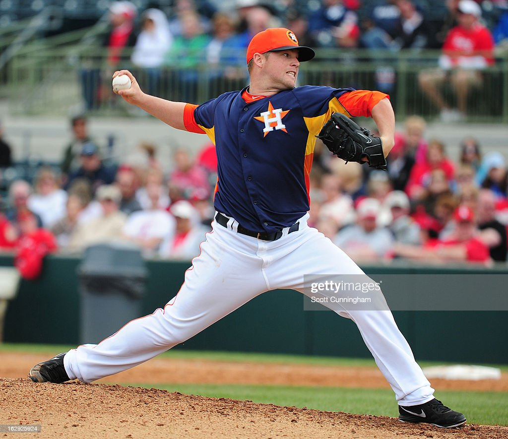 <a gi-track='captionPersonalityLinkClicked' href=/galleries/search?phrase=Bud+Norris&family=editorial&specificpeople=5746311 ng-click='$event.stopPropagation()'>Bud Norris</a> #20 of the Houston Astros pitches against the St. Louis Cardinals during a spring training game at Osceola County Stadium on March 1, 2013 in Kissimmee, Florida.