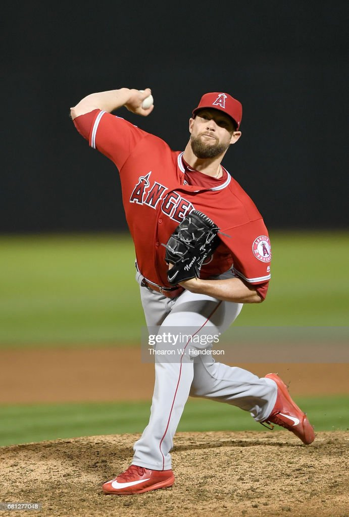 Bud Norris #20 of the Los Angeles Angels of Anaheim pitches against the Oakland Athletics in the bottom of the ninth inning at Oakland Alameda Coliseum on May 9, 2017 in Oakland, California. The Angels won the game 7-3.