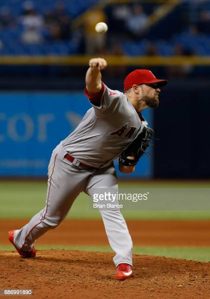 Bud Norris of the Los Angeles Angels pitches during the ninth inning of a game against the Tampa Bay Rays on May 22 2017 at Tropicana Field in St...
