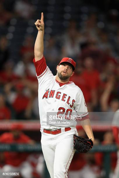 Bud Norris of the Los Angeles Angels of Anaheim points to the sky as Tommy Joseph of the Philadelphia Phillies popped out to end the ninth inning...