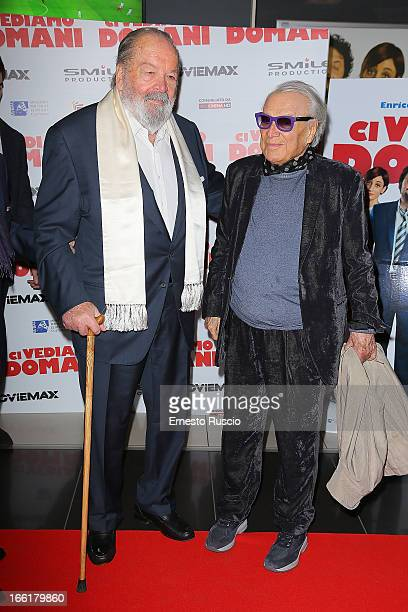 Bud Spencer and Giorgio Albertazzi attend 'Ci Vediamo Domani' premiere at Cinema Adriano on April 9 2013 in Rome Italy