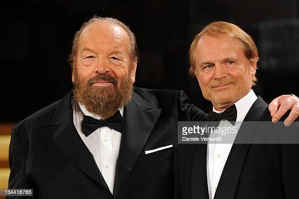 Bud Spencer and Terence Hill attend the 'David Di Donatello' movie awards at the Auditorium Conciliazione on May 7 2010 in Rome Italy