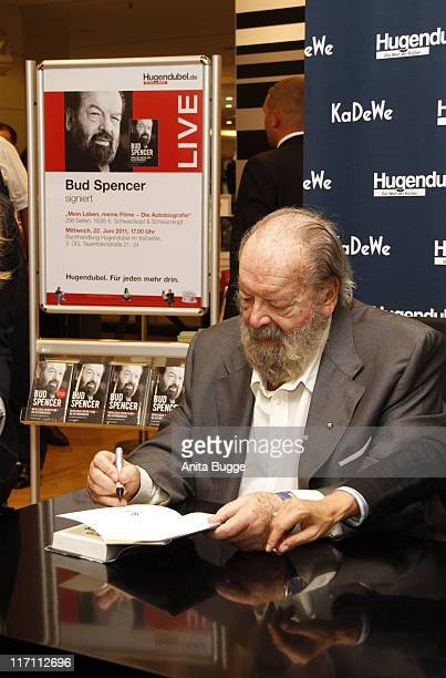 Bud Spencer signs copies of his autobiography ''Bud Spencer Mein Leben meine Filme' at the KaDeWe department store on June 22 2011 in Berlin Germany