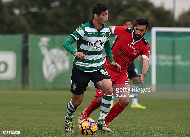 Budag Nasyrov of Sporting CP B with Andre Fontes of FC Penafiel in action during the Segunda Liga match between Sporting CP B and FC Penafiel at CGD...