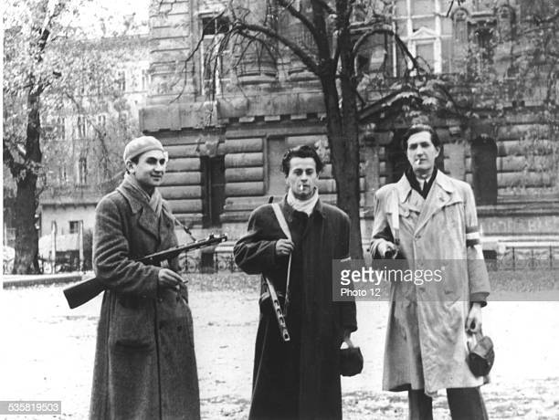 Budapest armed students in front of the University Their armbands have the colors of the Hungarian flag Hungary Hungarian uprising of 1956 National...
