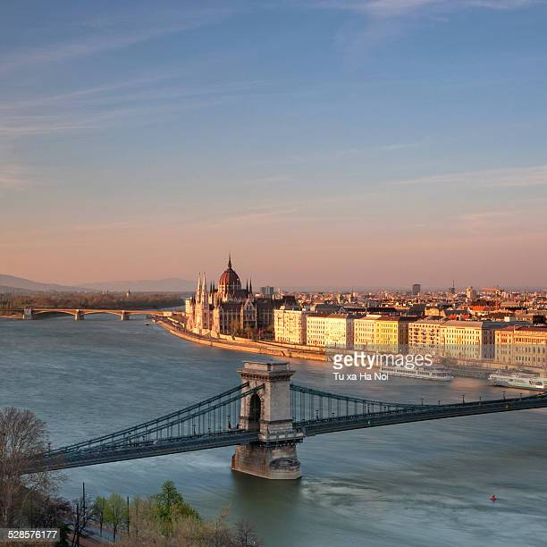 Budapest Chain Bridge and Parliament in sunset