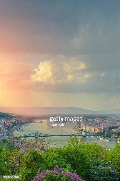 Budapest cityscape: the Danube, Chain Bridge, the Parliament of Hungary