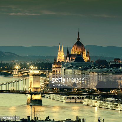 Budapest cityscape with Chain Bridge and Parliament