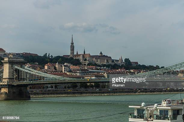 Budapest, Hungary. Chain Bridge and Buda Castle Hill.