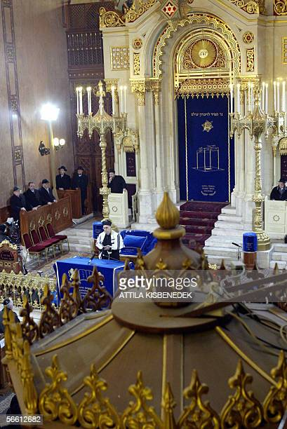 Chief Rabbi Robert Froelich prays for victims of WWII during a solemn religious ceremony marking the 61st anniversary of the liberation of Budapest's...