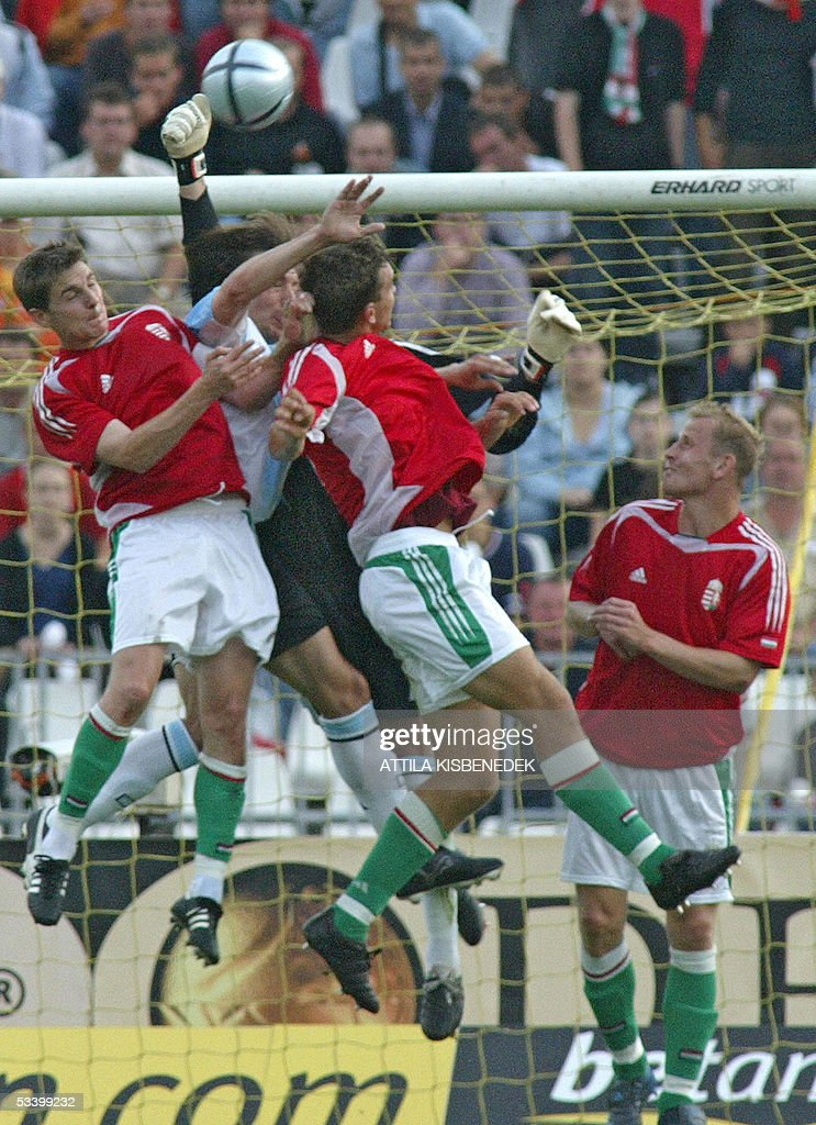 Hungary's Zoltan Gera, Peter Halmos and Sandor Torghelle try to score in front of Argentine's goalkeeper Leonardo Franco at the Puskas stadium in Budapest, 17 August 2005 during the friendly football match Argentine vs Hungary.