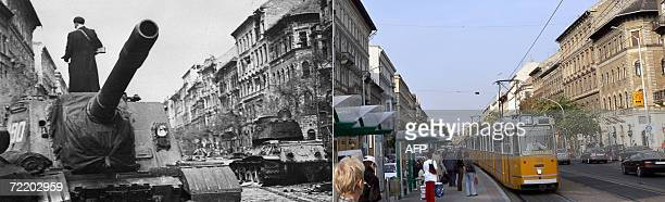 This combo made 18 October 2006 shows Soviet troops taking positiosn 06 November 2006 in Budapest and the same palce 50 years later The uprising...