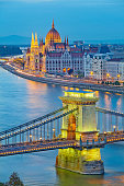 Image of hungarian parliament and Chain Bridge in Budapest during twilight blue hour.