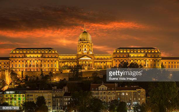 Budapest. The Buda Castle at night.