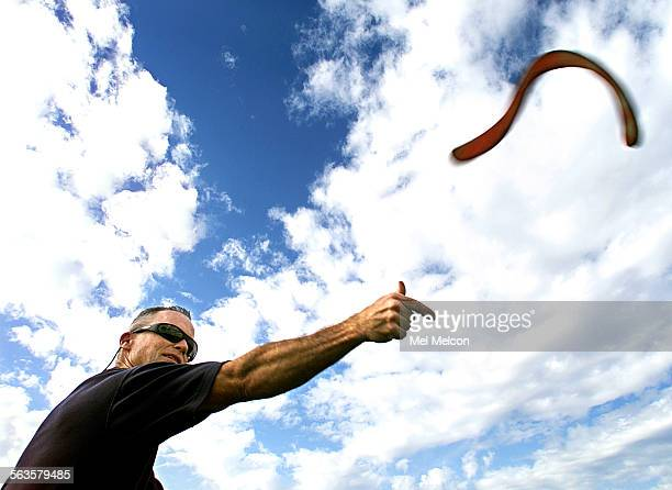 Budd Jamieson of Santa Barbara throws a long distance boomerang into the air while at Storke Field located on the campus at UCSB Digital image taken...